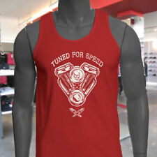 TUNED FOR SPEED ENGINE SKULL RACING RACER DRIFTER Mens Red Tank Top