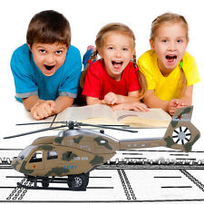 Alloy Military Helicopter Plane Metal  Pull Back Light and Music Kids Toys BE