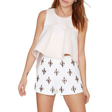 Women Frill High Low Casual Tank Pink Shirt Blouse Ladies Summer Party Crop Tops
