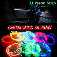 5M Flexible Neon Rope Light Glow EL Strip Tube Wire Rope  Car Decor+Controller
