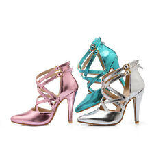 UK All Size Pointy Evening Girl's Shoes High Heel Strap Buckle Women Sandals