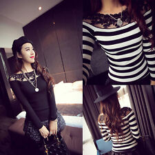 Women's chic Sexy Off-Shoulder Lace Long Sleeve Slim Shirt Top Blouse