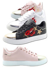 Kids New Embroidery Sequined Flats Pumps Shiny Toe Girls Shoes Casual Sneakers