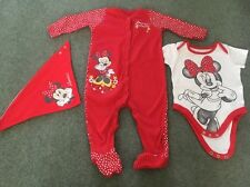 Baby Girls Disney Minnie Mouse Sleepsuit Vest & Bib Age 9-12 Months Outfit Set
