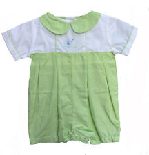 Boys Infant Romper Green Check Embroidered Puppy Boys Petit Ami NWT