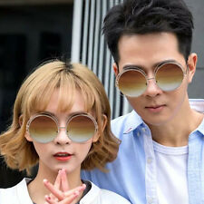 Fashion Metal Wire Circle Retro Double Round Design Large Frame Sunglasses BE