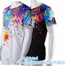 Fashionable Men T-Shirt Colorful 3D Printed Cotton Short Sleeve T-Shirt Tops BE