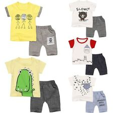 Toddler Kids Baby Boys T-shirt Tops+Harem Pants Shorts Summer Outfit Clothes Set