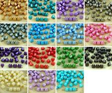 16pcs Pearl Pastel Small Pyramid Stud 2 Two Hole Czech Glass Beads 6mm x 6mm