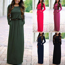 Women Long Maxi Dress Casual Loose Belted Pocket Party Evening Cocktail Sundress