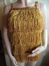 Womans Dance Minidress Gold Lame & Glitter All Over Sequin Straps Small VGC