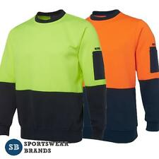 Mens Hi Vis Fleecy Crew Neck Jumper Pullover Size S-5XL Work Safety New 6HVCN