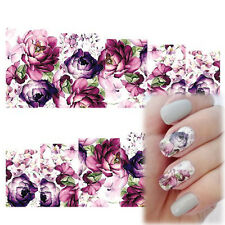 Beauty Nail Art Water Decals Stickers Transfers Deep Purple Flowers Gel Polish