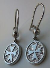 925 Sterling Silver Solid Maltese Cross Earrings with hook New Style!!