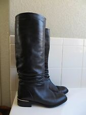 Sudini Italy Riding Boots Black Leather  Knee Great condition! size 7.5 B.
