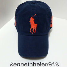 NWT POLO RALPH LAUREN BIG PONY BASEBALL CAP HAT NAVY ORANGE ONE SIZE ADJUSTABLE