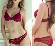 Womens Lace Bra Sets Thick Padded Plunge Push up Bra Gather Lingerie/Panties Set