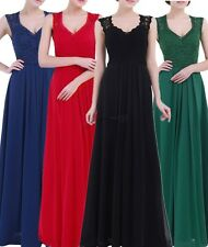 Women V-Neck Dress Wedding Bridesmaid Evening Party Formal Cocktail Long Gown