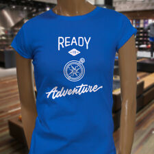 READY TO ADVENTURE COMPASS OUTDOORS CAMPER TRAVEL Womens Blue T-Shirt