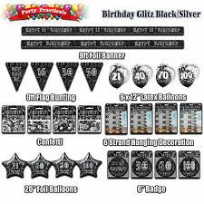 BIRTHDAY PARTY DECORATIONS black silver glitz banners bunting balloons confetti