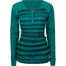 NWT Hurley Juniors Womens Spray Tan Henley Long Sleeve Top Shirt Tee Striped Med
