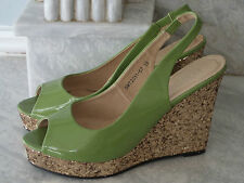 PLATINO FABULOUS LIME GREEN PATENT SLINGBACK GLITTERY GOLD WEDGE HEEL SHOES 6