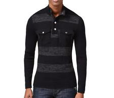 INC London Striped Two-Pocket Cotton Sweater Deep Black Striped Long Sleeves $59
