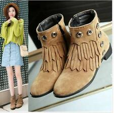 Punk Ladies Block Chunky Heels Tassel Rivets Side Zip Faux Suede Riding Boots