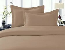 7-PCs Combo 800-TC Sheet Set + Duvet Set 100%Cotton Taupe Solid & Stripe Pattern