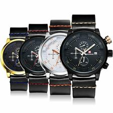 Luxury Mens Watches Quartz Date Black Steel Sport Army Wristwatch Silicone Band