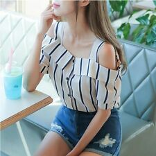 Fashion Korean Style Womens Blouse With Cold Shoulder & Sling Top Blouse T-Shirt