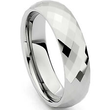 Stainless Steel Diamond Cut Faceted Unisex Wedding Band Ring