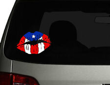 "Puerto Rico Die Cut Vinyl Car Decal Sticker  7""(w) Puerto Rican Flag with Lips"