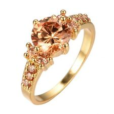 Women Stainless Steel Crystal Ring Gold Engagement Wedding Ring Jewelry Black
