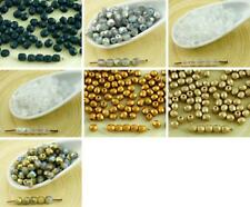 100pcs Matte Czech Glass Round Faceted Fire Polished Beads Small Spacer 4mm