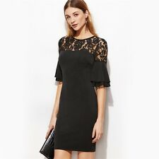 Women Dress Black Color Sheer Lace Neck Ruffle Sleeve Bodycon Dress
