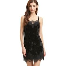Women Fashion Slip Bodycon Dress Black Lace Trim Velvet Cami Dress