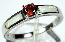 Garnet & White Fire Opal Inlay 925 Sterling Silver Solitaire Ring 6,7,8,9
