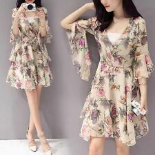 Spring Sweet Women Korean Trumpet Sleeve V Neck A Line Floral Chiffon Dress