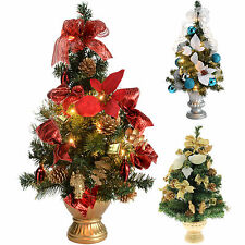Pre-Lit Decorated Christmas Tree Table Decoration 2 ft/60 cm Red Gold Silver