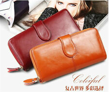 Women Vintage Cowhide Wallets Genuine Leather Wallet Coin Purse Zipper Leather