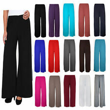 WOMENS Palazzo Plain Flared Wide Leg Pants leggings Baggy Printed Trousers 8-26