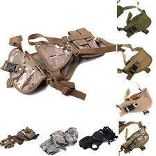 Horizontal Tactical Shoulder Holster Handgun Holster w/ Double Mag Pouch Outdoor