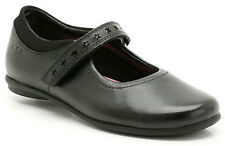 NEW Clarks DAISY LEAP Girls Black Leather School Shoes 10-13 F & G Fit BOXED
