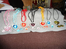 Murano Glass heart on a  ribbon necklace plus heart earing set