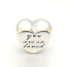 "Genuine S92 Sterling Silver "" you are so loved "" love HEART SILVER CHARM Bead"