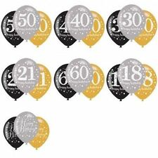 "11""  Balloons Black/Silver/Gold Helium/Air 18-100 Birthday  Party (Pack of 6)"