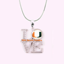 NCAA Miami Hurricanes 925 Sterling Silver Team Love Necklace With Rhinestones