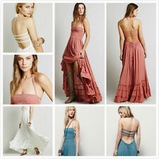 Vintage Hippie Boho Halter Neck Maxi Cocktail Party backless Long Maxi dress NEW