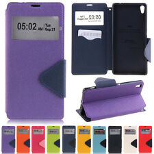 Triangle View Window Wallet Leather Flip Case Cover Stand Card Slot For Sony